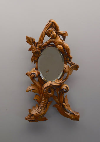 Early 20th Century Carved Cherrywood Scandinavian Mirror