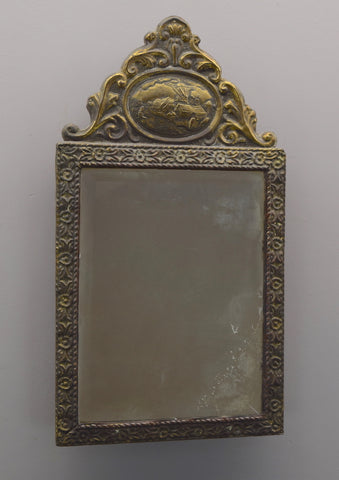 Early 20th Century French Brass Repousse Mirror
