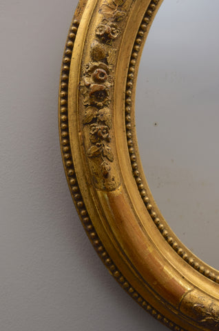 Pair of Oval French Gilt Mirrors