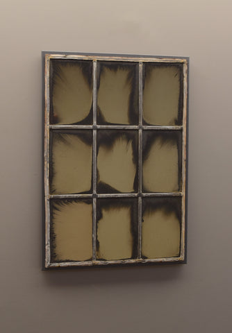 Mid 19th Century Mirrored Leaded Windows Mounted onto Painted Backboard