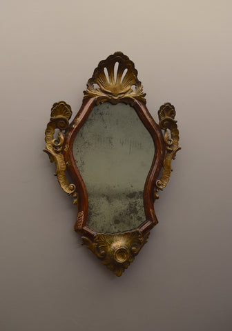 Late 18th Century / Early 19th Century Polychromed & Partial Gilt Carved Italian Mirror