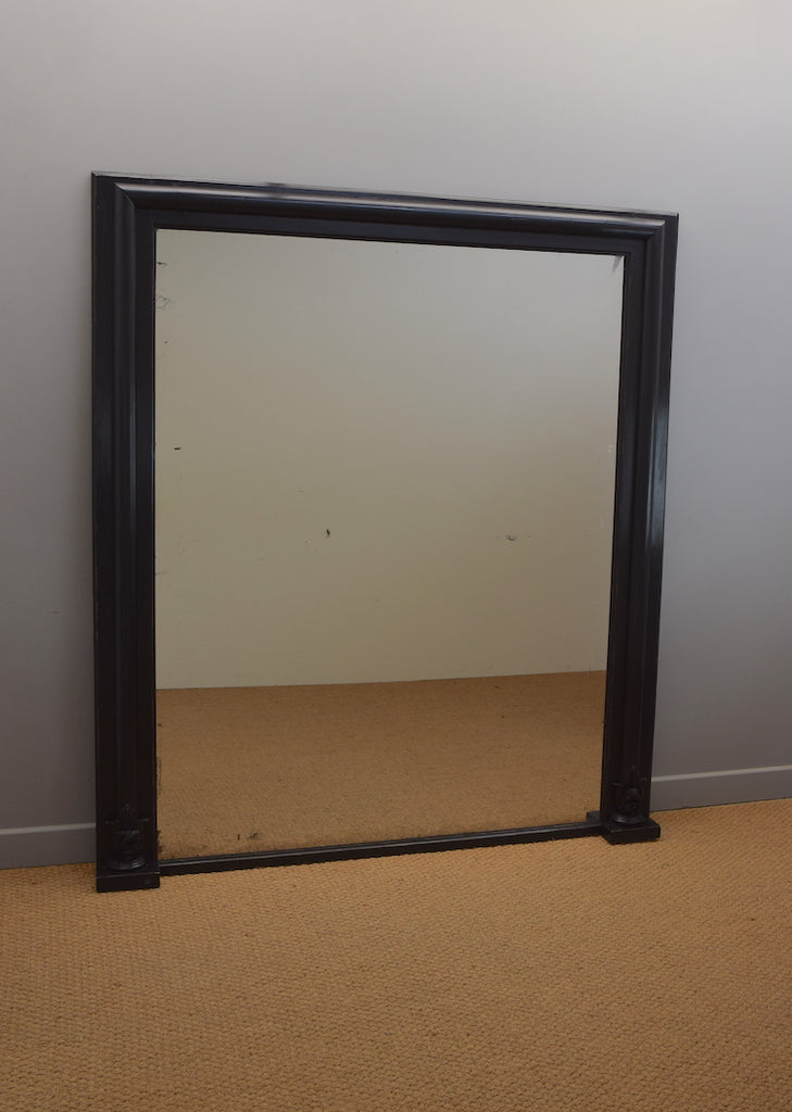 Large Ebonised Overmantel Mirror