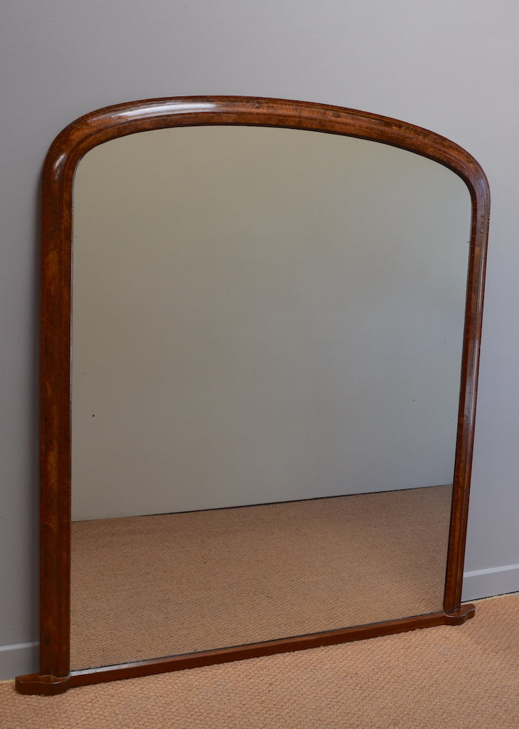 Large Walnut and Rosewood Overmantel Mirror