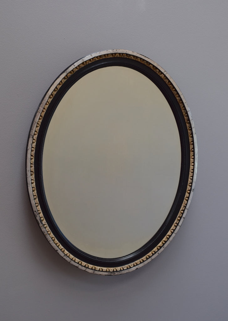Silver Gilt & Ebonised Oval Mirror