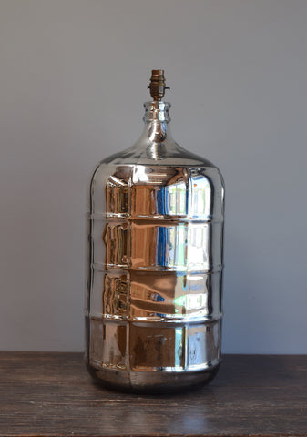 Silvered Demijohn Lamp with Pressed Grid Pattern