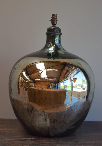 Large Rounded Silvered Demijohn Lamp