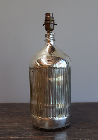 Ribbed Silvered Demijohn Lamp