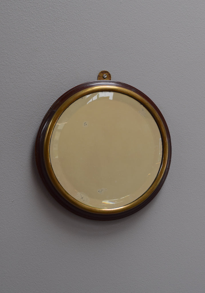Brass and Mahogany Circular Mirror