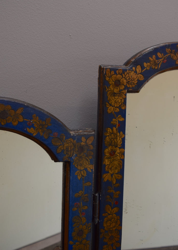 Blue Chinoiserie Triptych Mirror