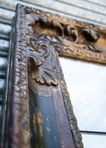 Closeup of Impressive Gilt & Ebonised Antique Mirror | Rough Old Glass