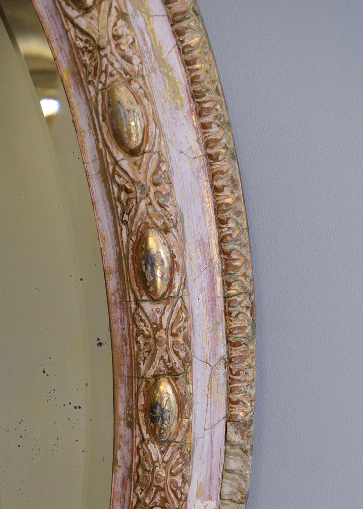 Large Oval Mirror with Original Bevelled Glass