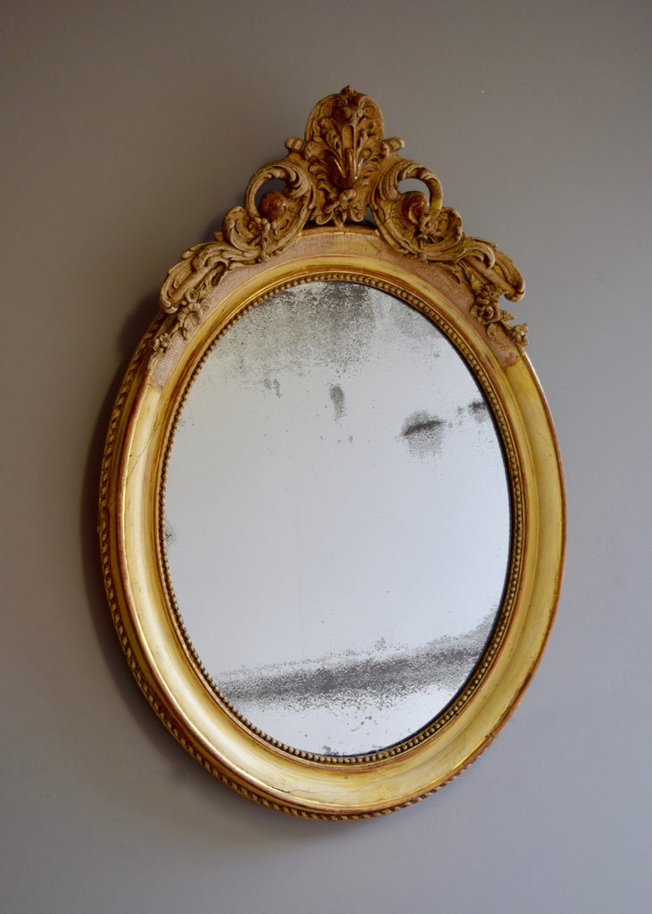 Crested Oval Mirror