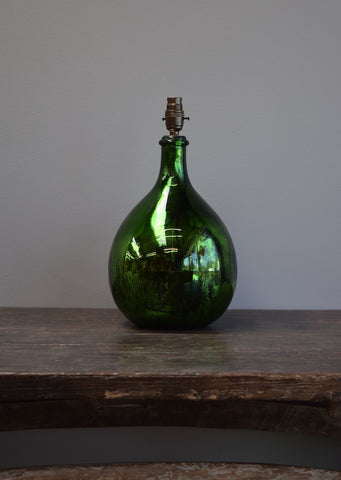 Emerald Green Silvered Demijohn Lamp