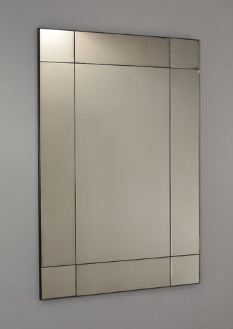 Deco Panelled Frameless Antiqued Mirror