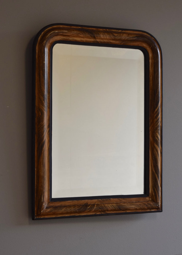 French Faux Grained Bevelled Mirror - SOLD