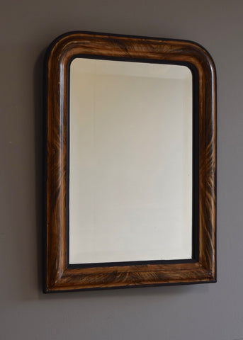 French Faux Grained Bevelled Mirror