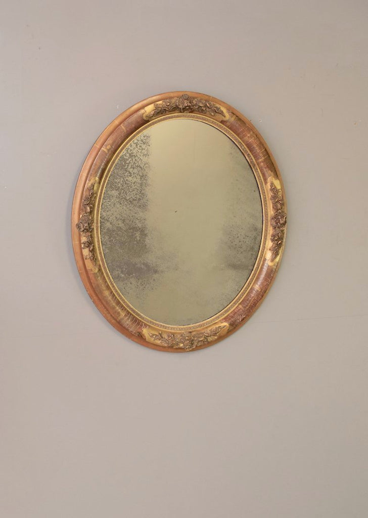 Mid 19th Century Worn Gold French Oval Mirror