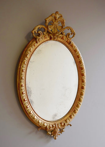 French Oval Crested Mirror