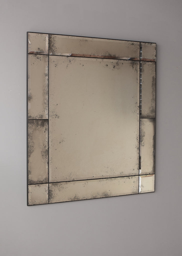 Modi Bevelled Panelled Frameless Antiqued Mirror