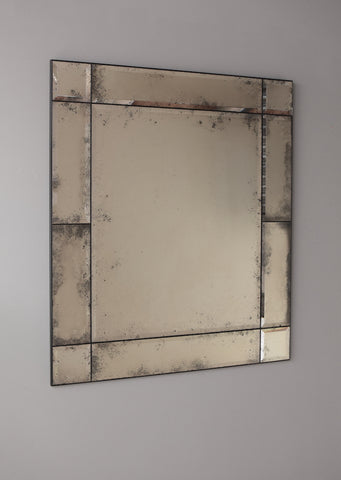 Bevelled Panelled Antiqued Mirror | Rough Old Glass