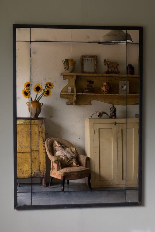 Panelled Steel Framed Antiqued Mirror