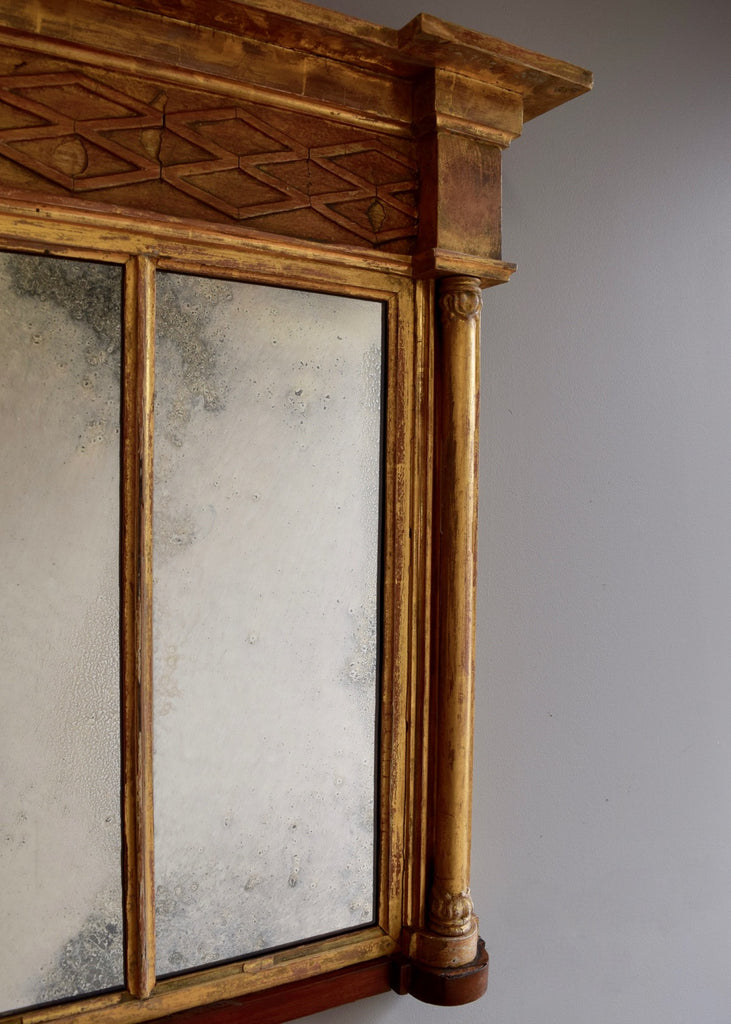 Regency Overmantel Mirror with Rosewood Plinth
