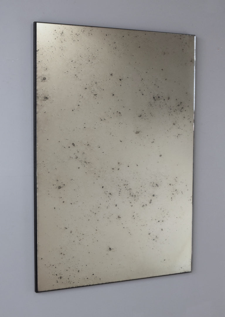 Single Panel Frameless Antiqued Mirror Rough Old Glass
