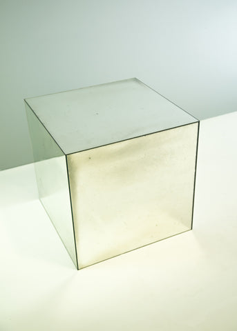 Antique Mirror Cube Table | Rough Old Glass