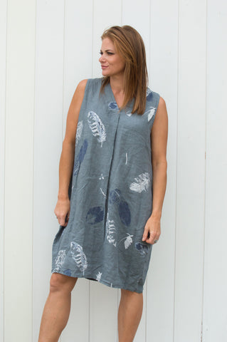 Charcoal Feather Linen Dress £36