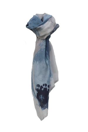 Blue Blossom Floral Print Scarf