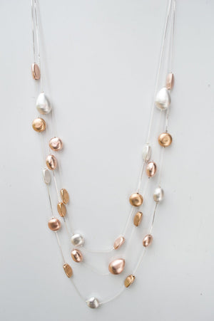 Long Delicate Rose Gold, Silver & Gold Bead Necklace