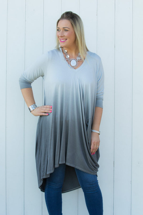 Silver Ombre Jersey Top/Dress