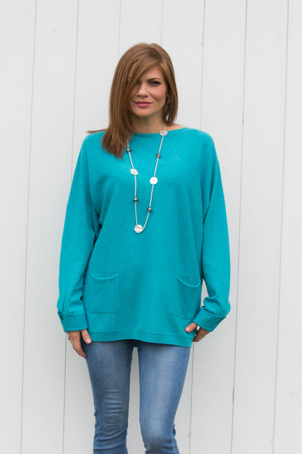 Turquoise Two Pocket Jumper