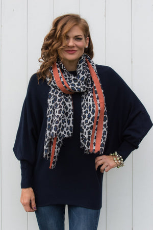 Silver and Royal Blue Leopard Print Scarf