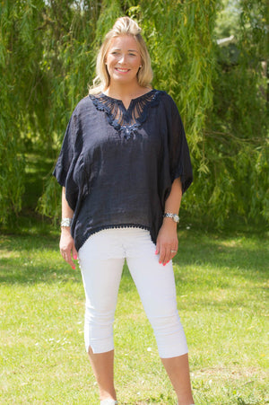 Navy Crochet Detail Linen Smock Top