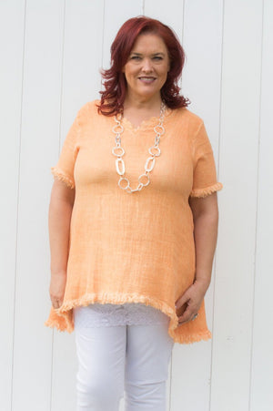 Peach Shredded Detail Linen Top