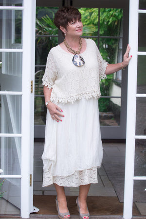 VIP Light Beige Lace Layered Silk Dress