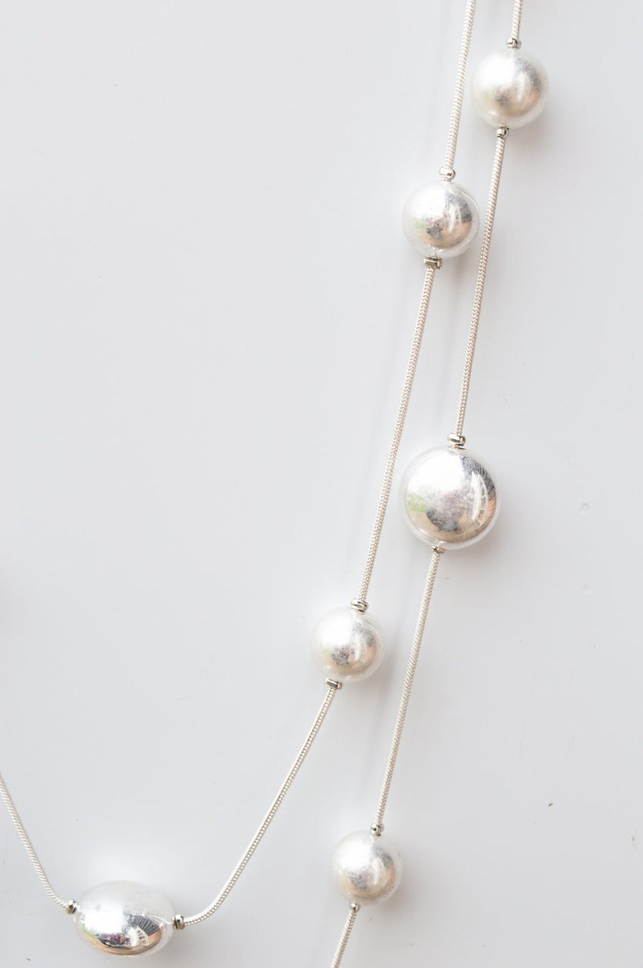 Long Silver Layered Scatter Bead Necklace
