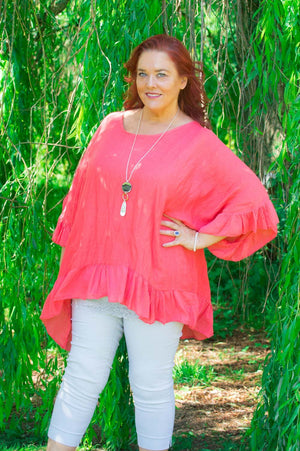 Crimson Frill Layered Curve Top