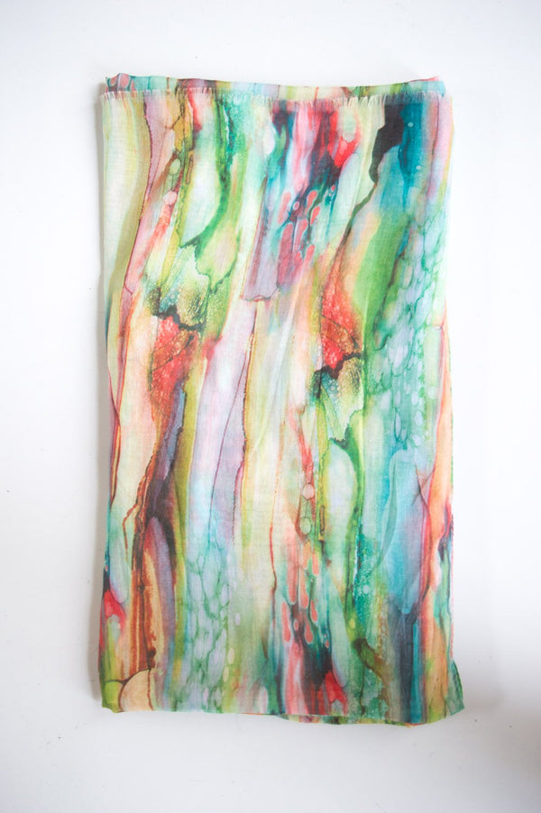 Green Watercolour Print Scarf