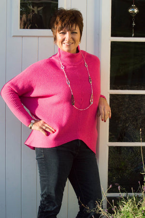 Fuchsia Turtle Neck Ribbed Jumper