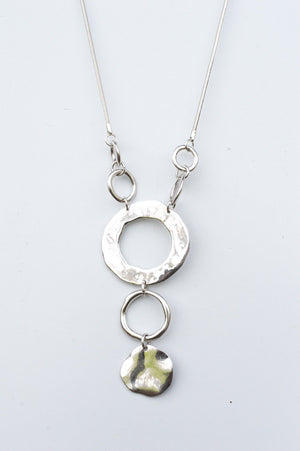 Long Silver Abstract Circle Necklace