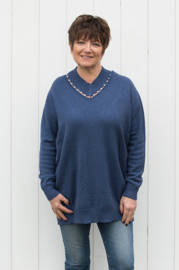 Denim V Neck Pearl Jumper