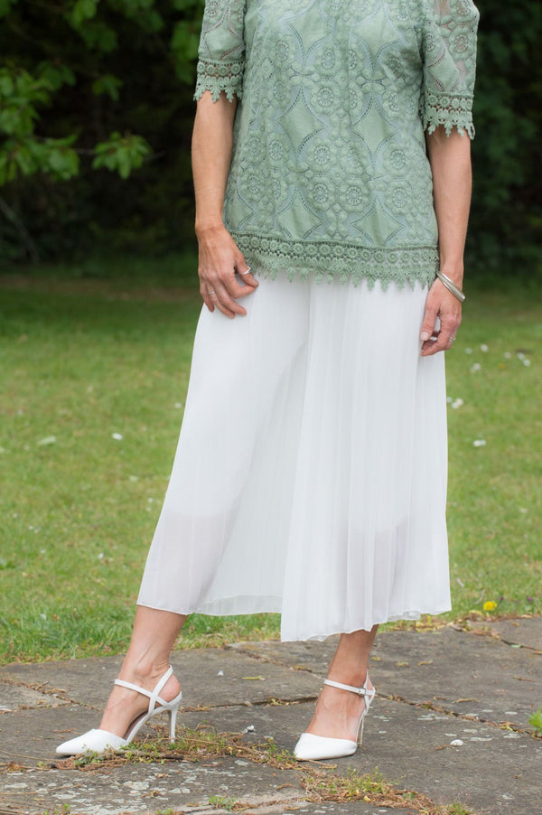 Cream Pleated Culotte Trousers