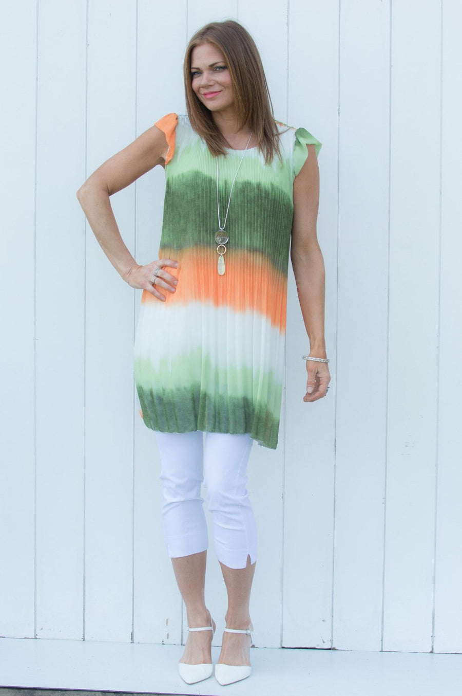 Green & Orange Ombre Pleated Top