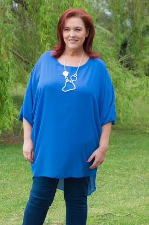 Royal Blue Sheer Blouse