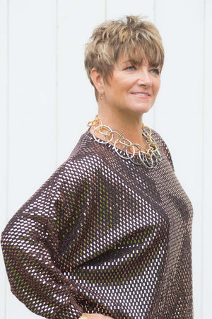 Black & Copper Sparkly Sequin Top