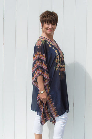 Navy & Yellow Nina Kaftan