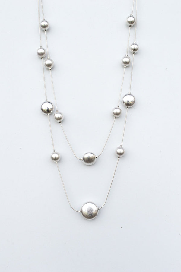 Shiny Silver Scatter Bead Necklace