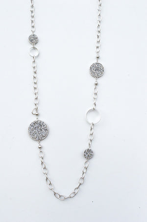 Long Silver Glitter Gem Necklace
